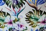 Cotton Jersey Digital Palm Flower White_
