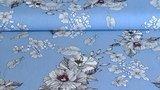 Linnen Viscose Flowers Light Blue_