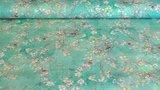 Linnen Viscose Digital Flower&Bird Mint Green_
