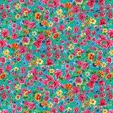 Cotton Jersey Digital Dalbir Flowers Teal_