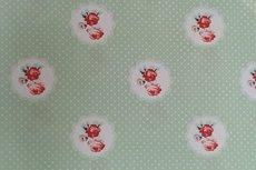 Katoen Roses Dot Mint Groen