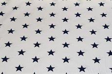 Katoen Big Stars Donker Blauw op Wit