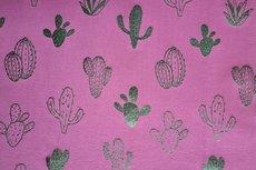 Katoenen Tricot foil cactus Berry