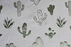 Katoenen Tricot foil cactus Grey