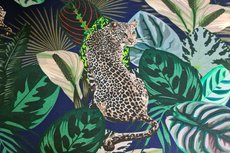 Cotton Jersey Digital Cheetah Leaf Navy