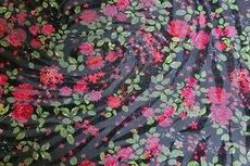 Viscose Jersey Flock Flowers Red