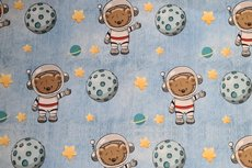 French Terry Space Bear Baby Blue jeanslook
