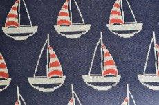 Cotton Jacquard Sail Boat Navy