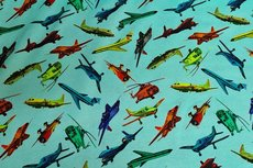 Cotton Jersey Airplanes Turquoise