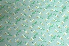 French Terry/Interlock Crane Birds Mint