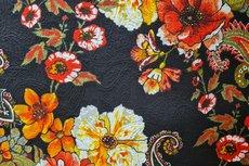 Stretch Jacquard Flowers Black