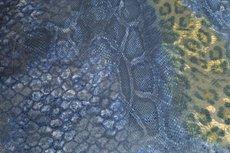 Viscose Jersey Flockprint Leo Snake Blue