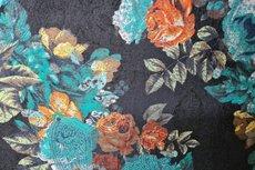 Viscose Jersey Flockprint Flower Petrol Brick