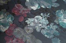 Viscose Jersey Flockprint Abstract Flower Petrol