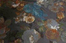 Viscose Jersey Flockprint Abstract Flower Brown