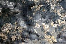 Viscose Jersey Flockprint Pied de Poule Grey