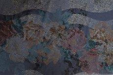 Viscose Jersey Flockprint Flower Navy