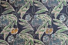 Viscose Jersey Flockprint Leaves Green Blue