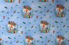 Cotton Jersey Indian Fox Light Blue jeanslook