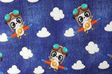 Cotton Jersey Koala Airplane Blue jeanslook