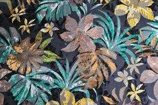 Viscose Jersey Flockprint Flowers Petrol
