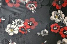 Viscose Jersey Flockprint Flowers Black