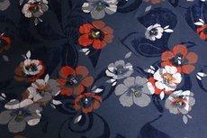 Viscose Jersey Flockprint Flowers Navy