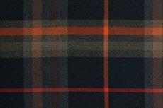 Scottish Stretch Check Navy Brown Orange