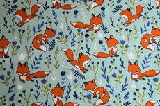 Cotton Jersey Fox & Flowers Mint