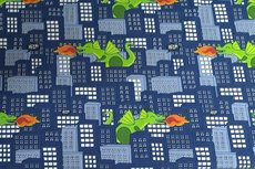 Cotton Jersey Dino Building Blue