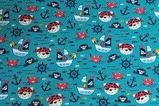 Cotton Jersey Pirate Bear & Boat Petrol