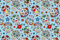 Cotton Jersey Colour Skulls Turqoise