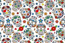 Cotton Jersey Colour Skulls White