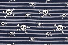 Cotton Jersey Skulls & Stripes Navy