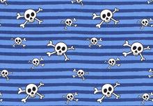 Cotton Jersey Skulls & Stripes Aqua