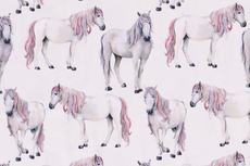 Cotton Jersey Horses Off White