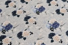 Cotton Jersey Roses Grey