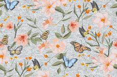 Cotton Jersey Butterflies Grey