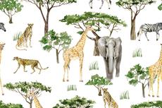 Cotton Jersey Safari & Tree Off White