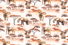 Cotton Jersey Safari & Tree Off White 1