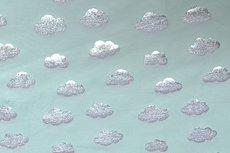 Katoenen Tricot foil Cloud Mint