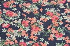 Viscose Little Flowers Navy/Brick