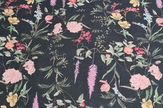 Viscose/Linnen Wild Flowers Black