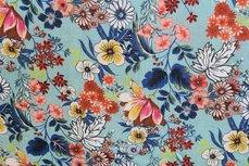 Viscose Crashed Flowers Turquoise