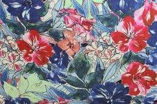 Viscose Flowers Kobalt Red