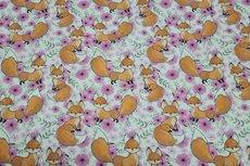 Cotton Jersey Fox & Flowers Off White/Fuchsia