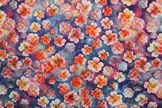Viscose Digital Flowers Blue/Red