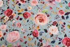 Cotton Jersey Digital Flowers Light Blue