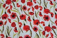 Viscose Jersey Digital Flowers  White
