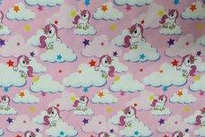 Cotton Jersey Unicorn Stars Roze